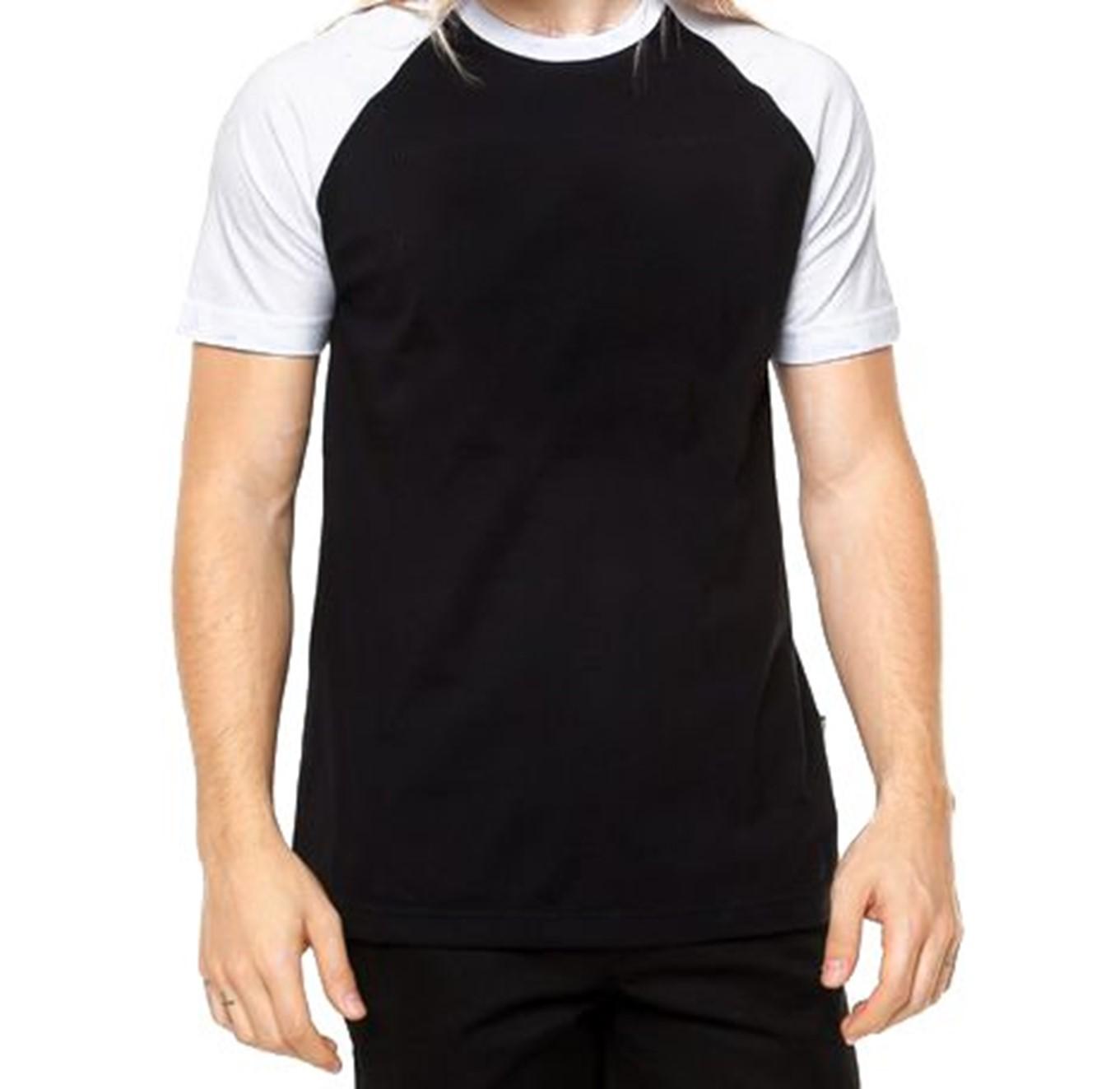 69687aa4bdb Camisa Raglan PRETA com manga BRANCA (opção manga longa ou curta ...