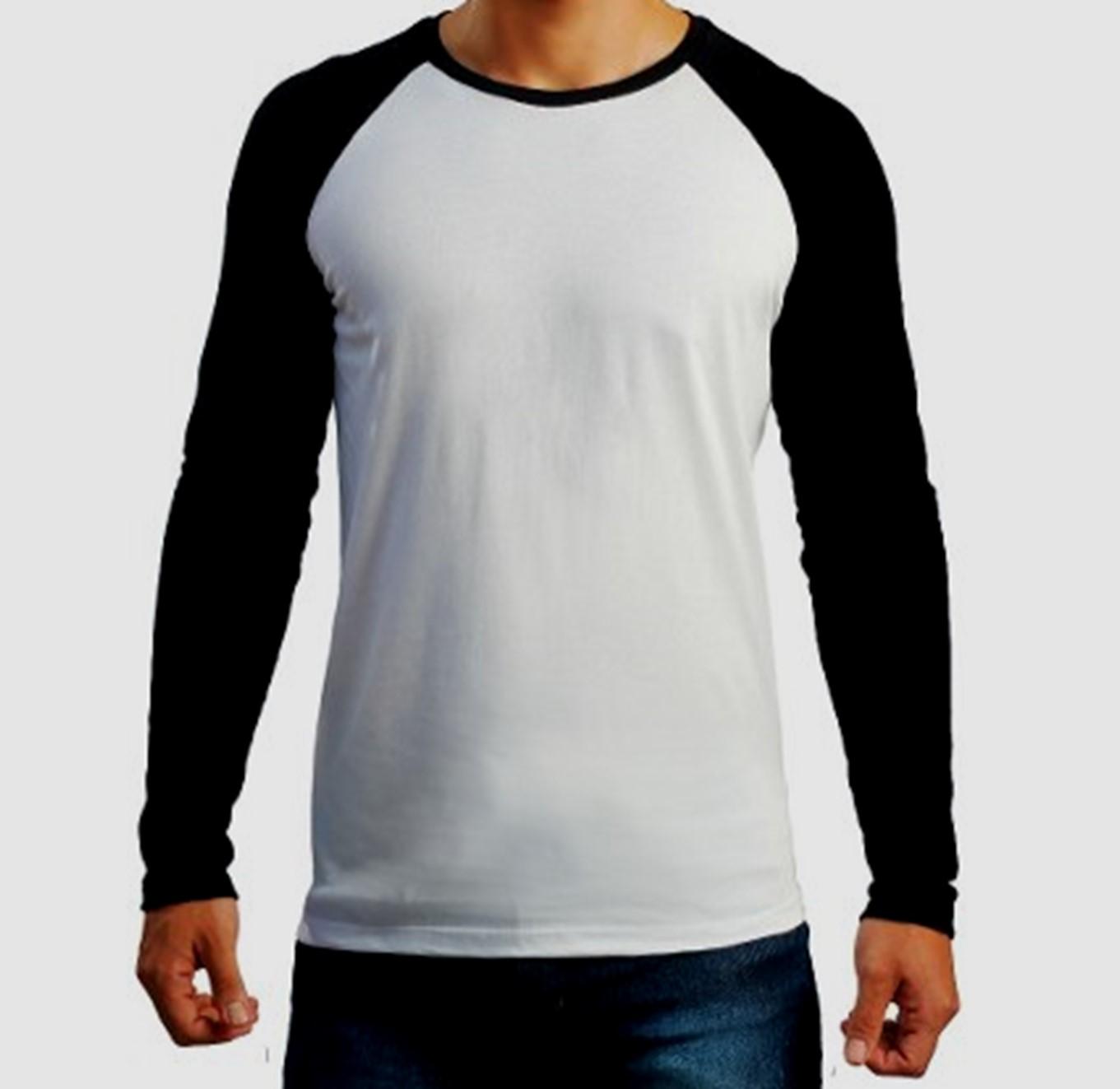 bcdbe1e33 Camisa Raglan BRANCA com manga PRETA (opção manga longa ou curta ...